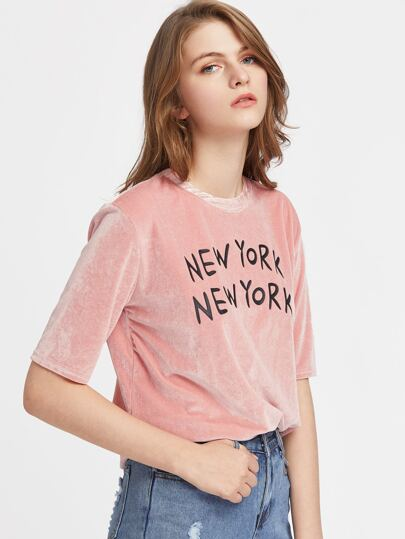 Velvet Shirt mit aufgedrucktem Buchstaben