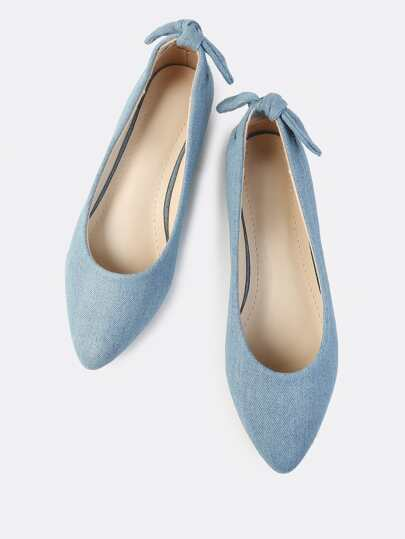 Back Bow Denim Flats DENIM