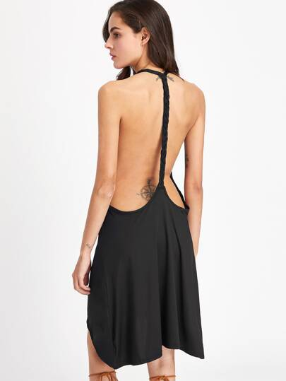 Braided Open Back Halter Dress