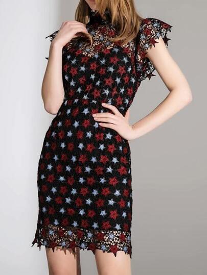 Stars Print Backless Crochet Hollow Out Dress
