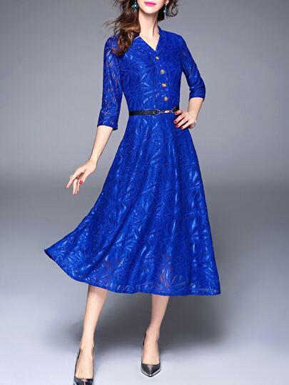 V Neck Leaves Jacquard Dress