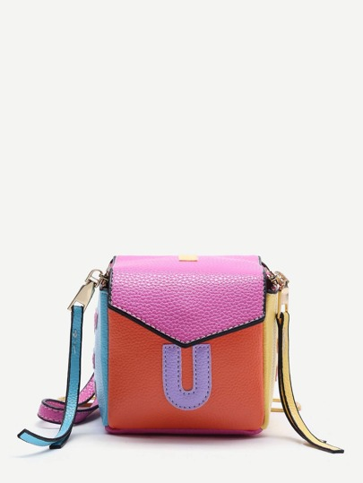 Letter Patch Color Block Chain Crossbody Bag With Zipper