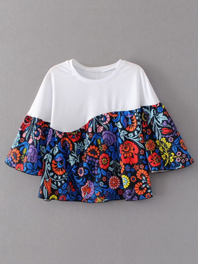 Color Block Flute Sleeve Floral Print T-shirt