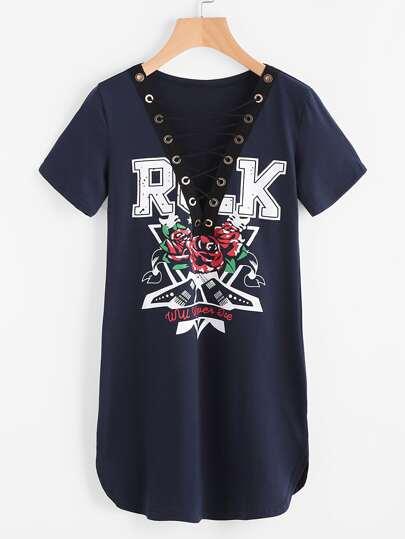 Deep-Plunge Neck Criss Cross Front Rock Dress