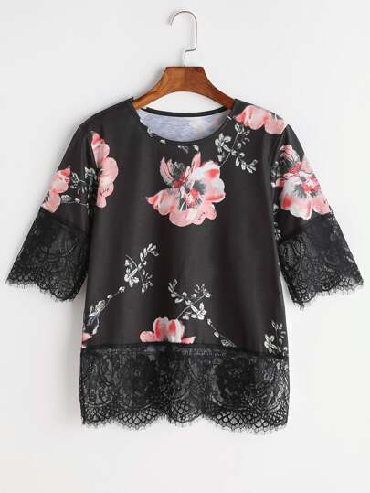 Florals Eyelash Lace Trim Tee