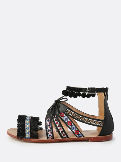 Western Print Laced Sandals BLACK