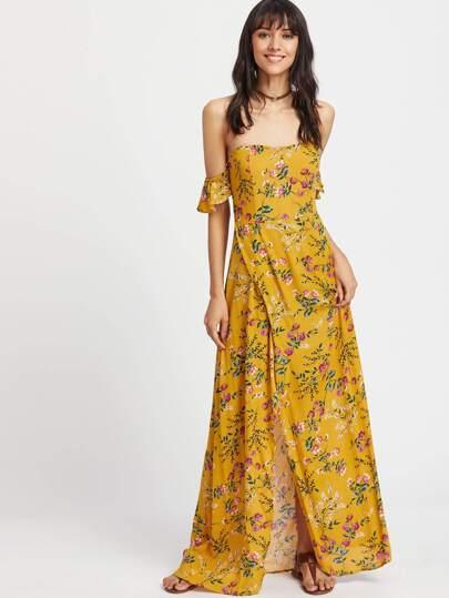 Botanical Print Ruffle Sleeve Wrap Dress