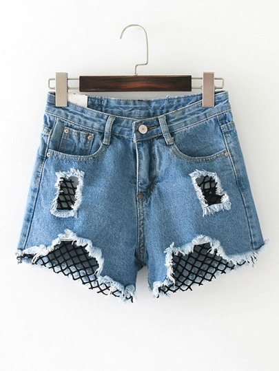 Kontrast Mesh Ripped Detail Denim Shorts
