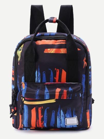 Graffiti Print Double Handle Backpack