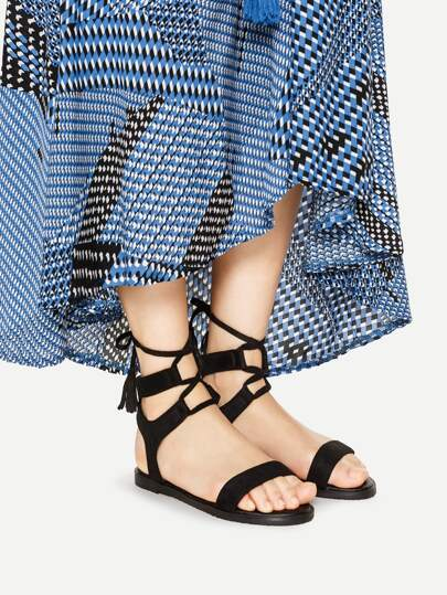 Tassel Detail Lace Up Flat Sandals