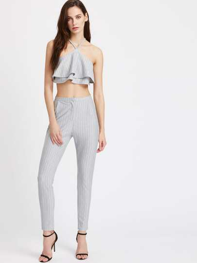Striped Layered Halter Crop Top With Pants