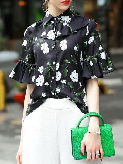 Blusa fruncido con estampado de flores de manga campanuda