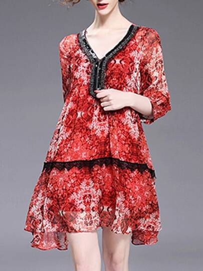 V Neck Beading Floral Contrast Lace Dress