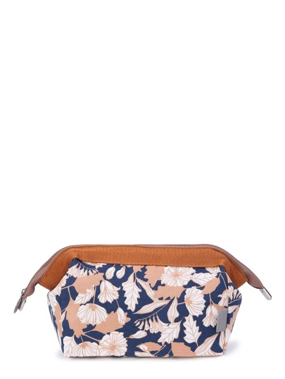 Lotus Print Make Up Bag