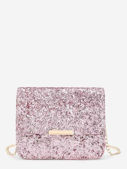 Metal Detail Sequin Flap Bag With Chain