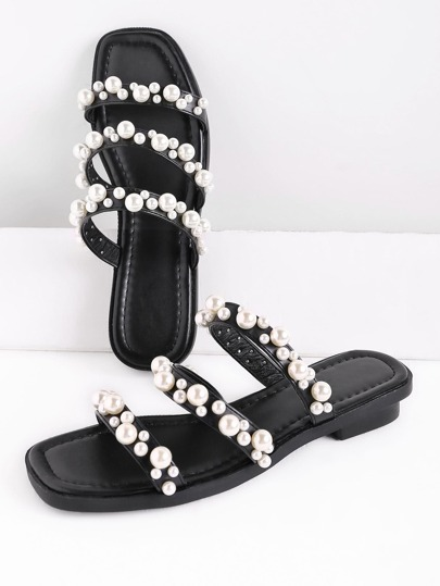 Faux Pearl Embellished Strap Slide Sandals