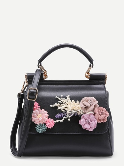 Applique Flower PU Shoulder Bag