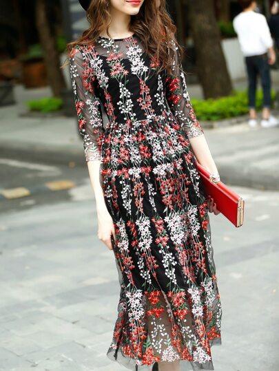 Black Gauze Embroidered Sheer Dress