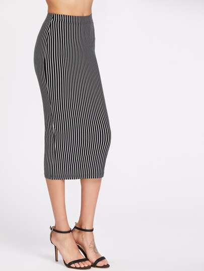 Elastic Waist Pinstriped Pencil Skirt