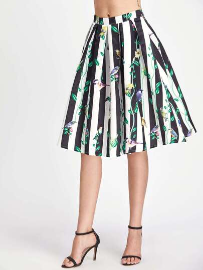 Box Pleated Floral And Striped Flare Skirt