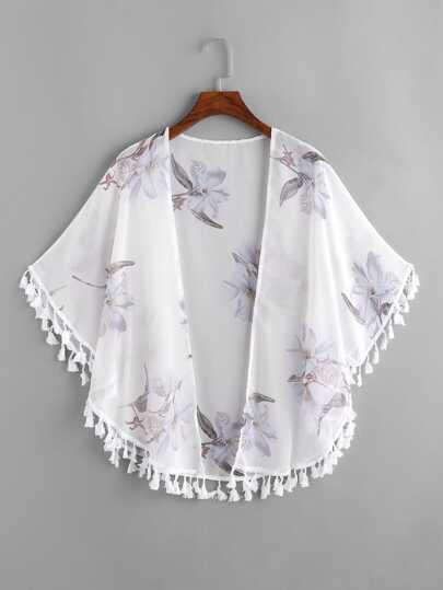 Kimono con espiga con estampado floral