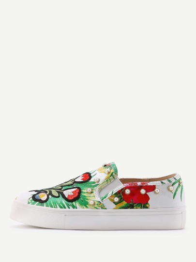Jungle Print Studded Slip On Plimsolls