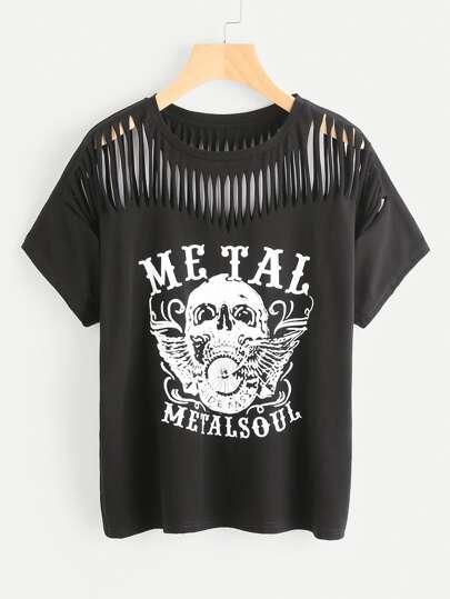 Tee-shirt imprimé du crâne lacéré