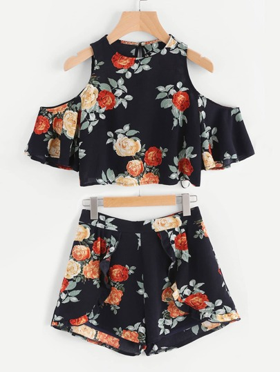 Open Shoulder Floral Top With Frill Trim Wrap Shorts
