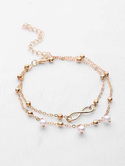 Bracelet Faux Pearl Link