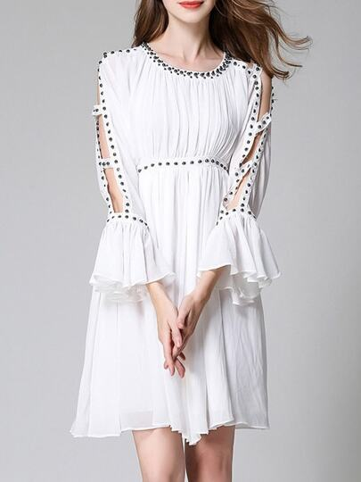 Open Shoulder Beading Bell Sleeve Dress