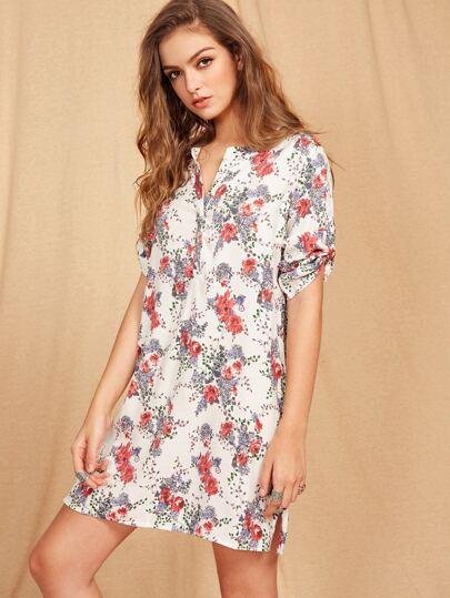 Roll Sleeve Half Placket Vented Hem Floral Dress