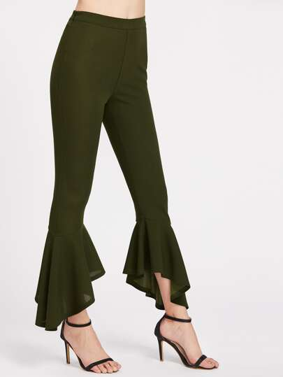Zip Side Asymmetric Frill Hem Pants