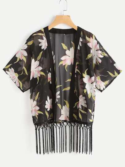 Kimono mousseline avec des franges
