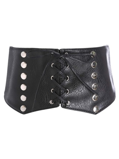 Studded Lace Up Croset Belt