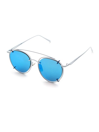 Metal Frame Double Bridge Cat Eye Sunglasses