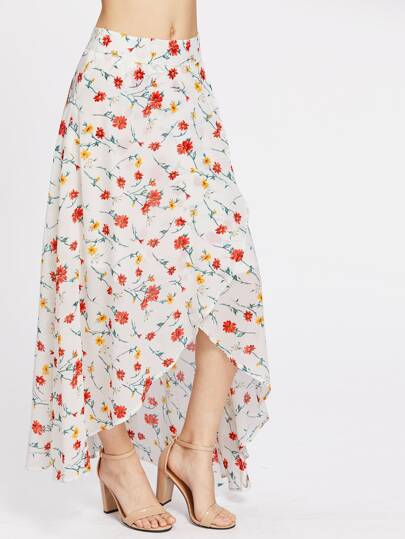 High-Low Hemlines Floral Zipper Side Skirt