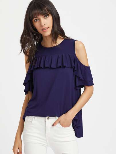 Open Shoulder Ruffle Trim Boxy Tee