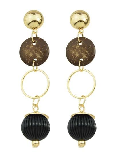 Gold Wooden Long Drop Earrings