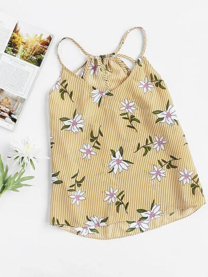 Camisola de rayas con estampado floral y espalda con cordón