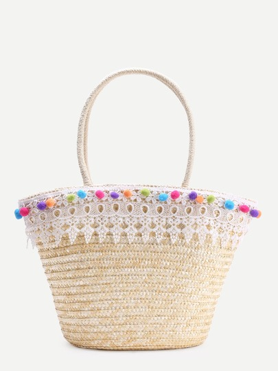 Lace Crochet Design Tote Bag With Pom Pom
