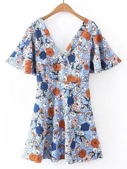 Double V Neck Bell Sleeve A Line Dress