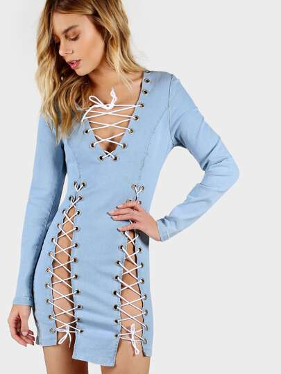 Lace Up Denim Bodycon Dress LIGHT BLUE