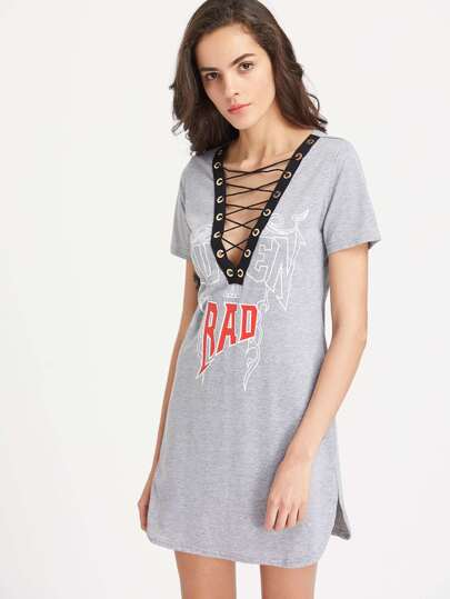 Plunging Eyelet Lace Up Tee Dress