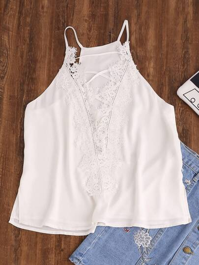 Lace Applique Crisscross Plunging Cami Top