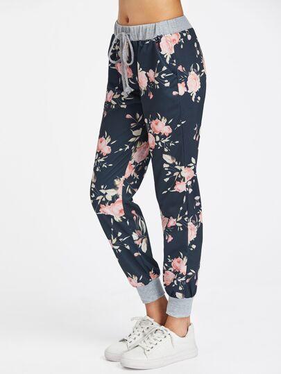 Pantalons imprimé fleuri avec un lacet