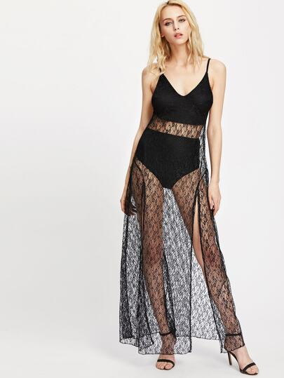 Open Back Sheer Lace Overlay Slit Slip Dress
