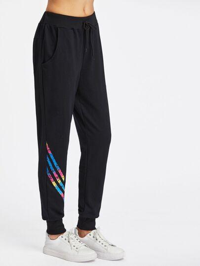 Striped Drawstring Tapered Pants