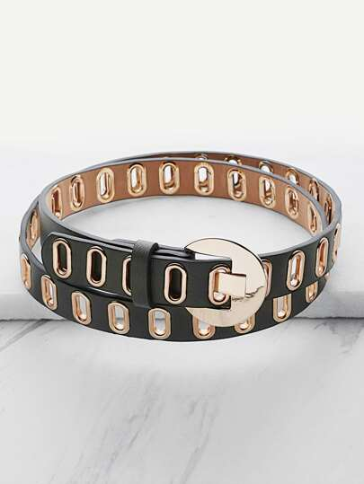 Metal Eyelet Faux Leather Buckle Belt
