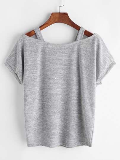 Grau ausgeschnittenes festes Hülsen-T-Shirt