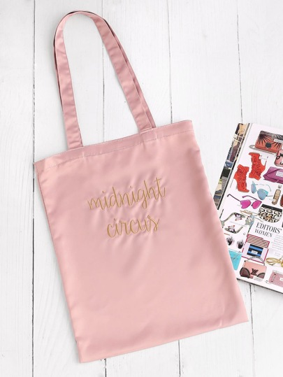 Letter Embroidery Satin Tote Bag